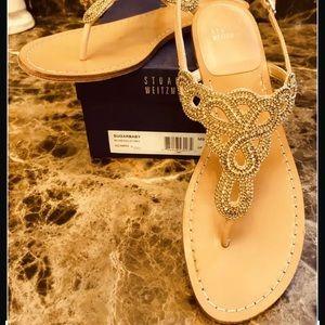 Stuart Weitzman SUGARBABY Rosegold  Leather Sandal